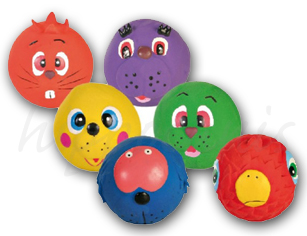 Latex Spielball <i>Faces</i> mit Quietsche - 6cm
